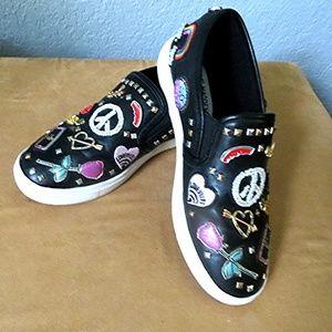 Girls STEVE MADDEN 4 Black Leather Beaded Sneakers